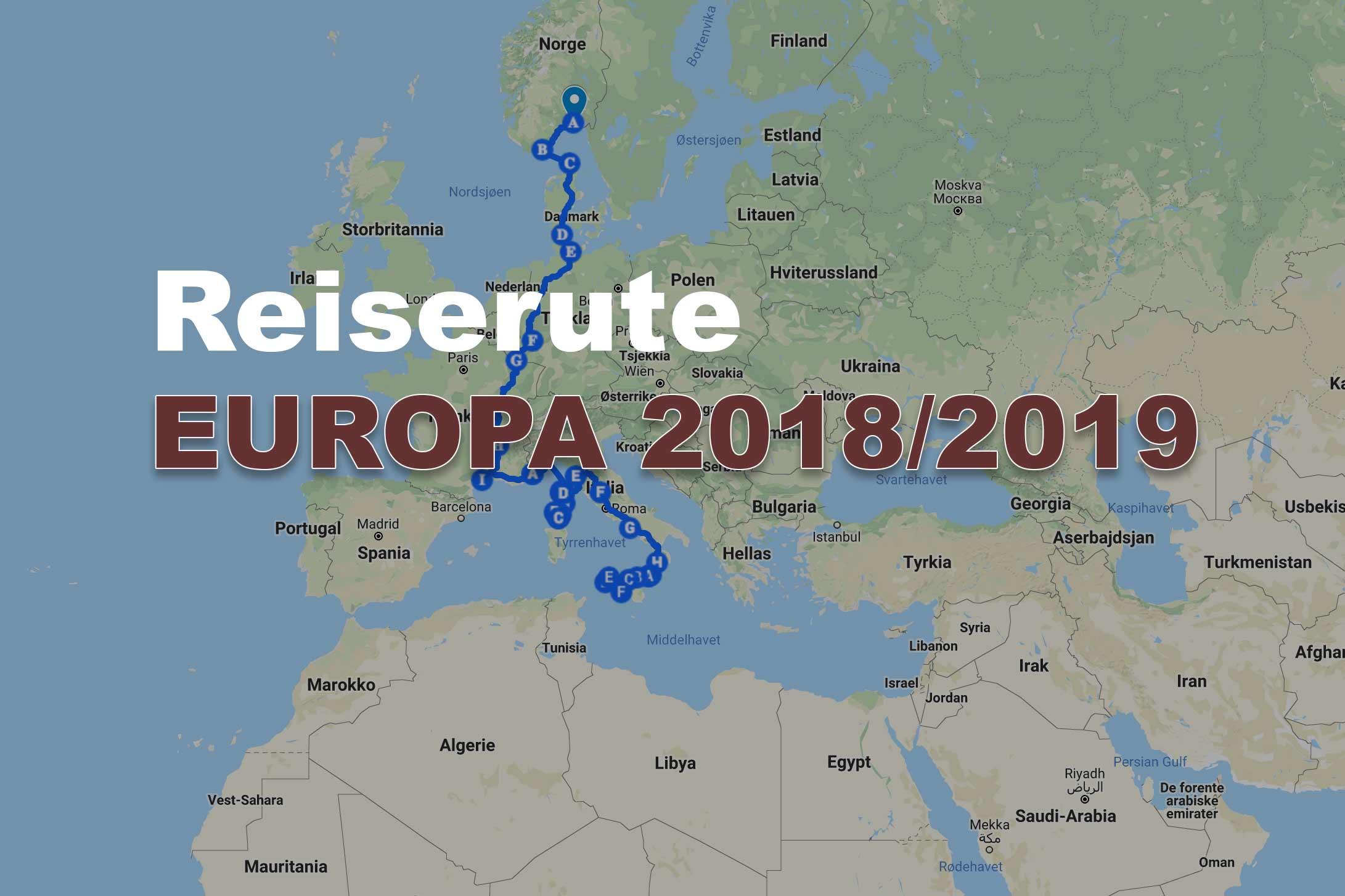 Reiserute Europa 2018 2019 Finnsummetone